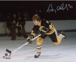 "Terry O'Reilly Boston Bruins Autographed 8"" x 10"" Black Shooting Photograph"