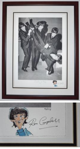 """Original Drawing Signed - Autographed by Artist Ron Campbell of Ringo Starr and """"The Beatles at Play 1964"""" Limited Edition Giclee Lithograph - Black FRAME - Custom FRAMED - Guaranteed to pass PSA or JSA"""