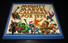 Original Framed 1975 Marvel Calendar Poster 12x12 Spiderman FF Hulk John Romita
