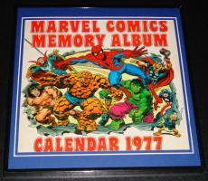 Original Framed 1977 Marvel Calendar Poster 12x12 Spiderman Hulk Thing Conan