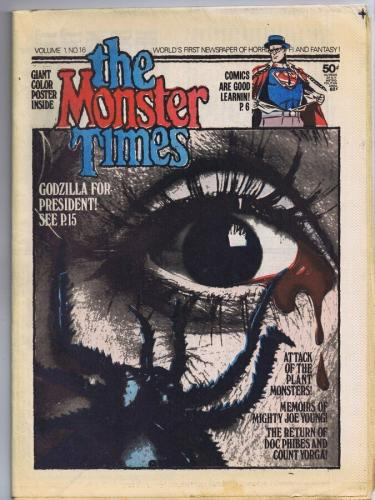 ORIGINAL Vintage 1972 The Monster Times Horror Newspaper Magazine #16 Superman
