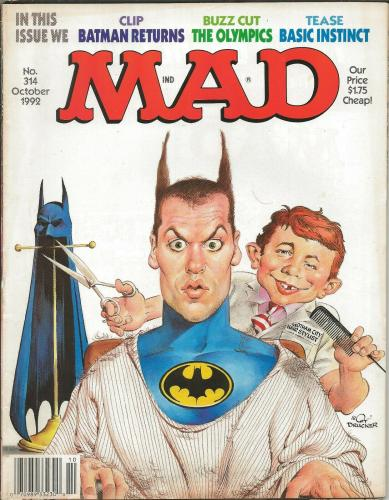 ORIGINAL Vintage 1992 Mad Magazine #314 Batman Michael Keaton Basic Instinct