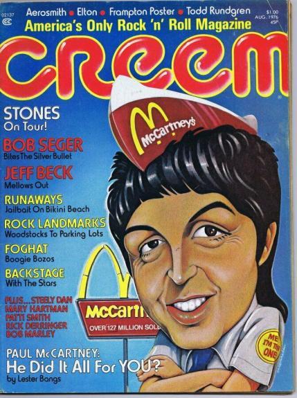 ORIGINAL Vintage August 1976 Creem Magazine Paul McCartney Rolling Stones Foghat