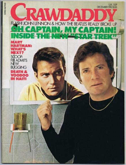 ORIGINAL Vintage December 1976 Crawdaddy Magazine William Shatner Star Trek