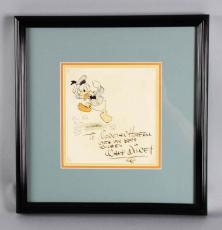 Original Watercolor Painting Drawing by Walt Disney of Donald Duck – Signed & Inscribed – JSA Full LOA
