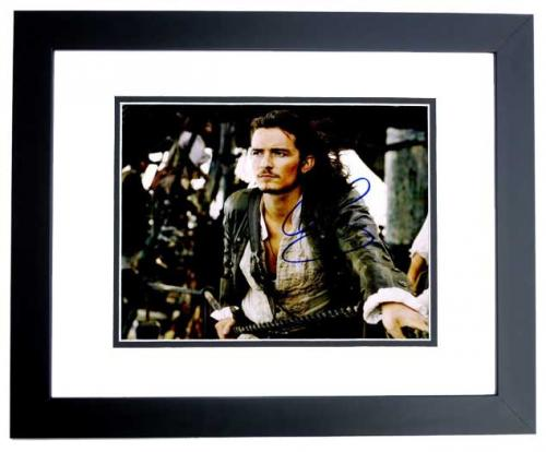Orlando Bloom Signed - Autographed Pirates of the Caribbean 8x10 inch Photo as Will Turner - BLACK CUSTOM FRAME - Guaranteed to pass PSA or JSA