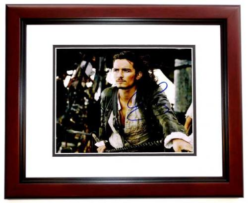 Orlando Bloom Signed - Autographed Pirates of the Caribbean 8x10 inch Photo as Will Turner - MAHOGANY CUSTOM FRAME - Guaranteed to pass PSA or JSA