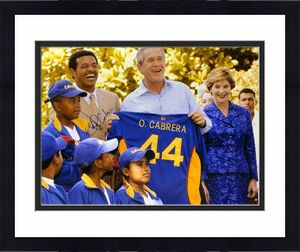 Orlando Cabrera Signed 16x20 Photo w/ President George Bush PSA W27349