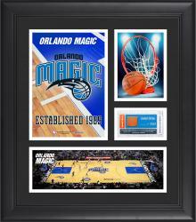 "Orlando Magic Team Logo Framed 15"" x 17"" Collage with Team-Used Baseketball"