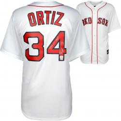 David Ortiz Boston Red Sox Autographed Home Majestic Replica Jersey with 13 WS MVP Inscription - Mounted Memories
