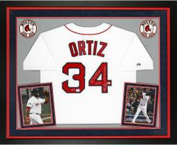 David Ortiz Boston Red Sox Autographed Deluxe Framed Majestic Replica Jersey with Multiple Inscriptions-Limited Edition of 34