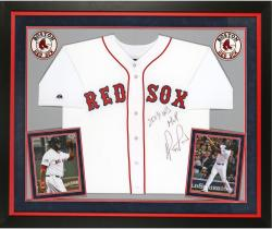 "David Ortiz Bost Red Sox Autographed ""World Series"" Framed Jersey"