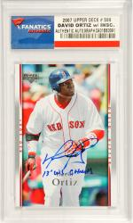 David Ortiz Boston Red Sox Autographed 2007 Upper Deck #590 Card with 2013 W.S. Champs Inscription - Mounted Memories