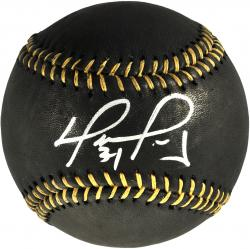 David Ortiz Boston Red Sox Autographed Black and Gold Baseball