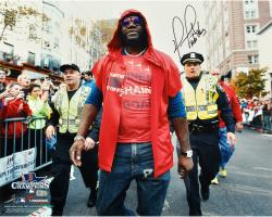 David Ortiz Boston Red Sox 2013 World Series Champions Autographed 16'' x 20'' Parade Photograph with Boston Strong Inscription - Mounted Memories