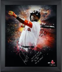 David Ortiz Boston Red Sox Framed Autographed 20'' x 24'' In Focus Photograph with Multiple Inscriptions-Limited Edition of 12 - Mounted Memories