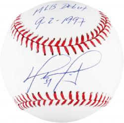 David Ortiz Boston Red Sox Autographed Baseball with MLB Debut 9-2-1997 Inscription - Mounted Memories