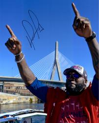 David Ortiz Boston Red Sox Autographed 16'' x 20'' Finger Tobin Bridge Photograph - Mounted Memories