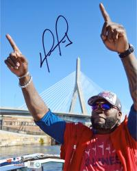 David Ortiz Boston Red Sox Autographed 8'' x 10'' Finger Tobin Bridge Photograph - Mounted Memories