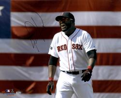 "David Ortiz Boston Red Sox Autographed 16"" x 20"" Flag Smiling Photograph"