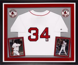 David Ortiz Boston Red Sox Autographed Deluxe Framed Majestic Home Jersey