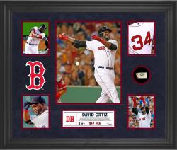David Ortiz Boston Red Sox Framed 5-Photo Collage with Piece of Game-Used Ball - Mounted Memories