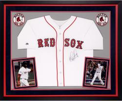 David Ortiz Boston Red Sox Autographed Deluxe Framed Majestic Replica Home Jersey