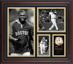David Ortiz Boston Red Sox Framed 15'' x 17'' B&W Composite with Piece of Game-Used Ball-Limited Edition of 500 - Mounted Memories