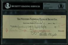 Orville Wright Signed 3.25x8.5 Check Dated November 2, 1944 BAS Slabbed