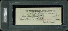 Orville Wright Signed 3x8.5 Check Dated October 16, 1939 PSA Slabbed