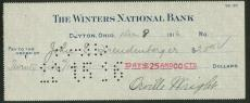 Orville Wright  Signed Autographed 1919 Bank Check BAS/Beckett Kitty Hawk