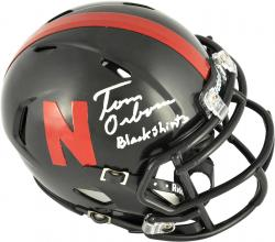 Tom Osborne Nebraska Cornhuskers Autographed Riddell Mini Helmet with Black Shirts Inscription - Mounted Memories