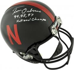 Tom Osborne Nebraska Cornhuskers Autographed Riddell Replica Helmet with 94, 95, 97 Natl Champs Inscription - Mounted Memories