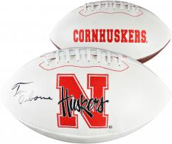 Tom Osborne Nebraska Cornhuskers Autographed White Panel Football - Mounted Memories
