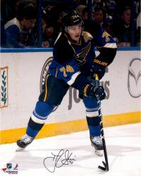 "T.J. Oshie St. Louis Blues Autographed 16"" x 20"" With Puck Photograph"