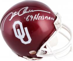 Steve Owens Oklahoma Sooners Autographed Riddell Mini Helmet with 1969 Heisman Inscription - Mounted Memories