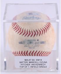 OZUNA, MARCELL GAME USED (5/8/14 V SD) T7 SINGLE BSBL (MLB) - Mounted Memories