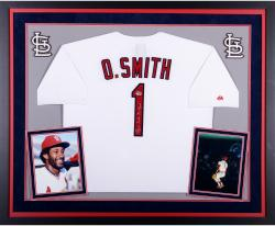 Ozzie Smith St. Louis Cardinals Autographed Deluxe Framed Jersey with The Wizard Inscription