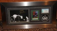 Ozzy Osbourne autographed framed backstage pass ticket stub PSA DNA COA patch