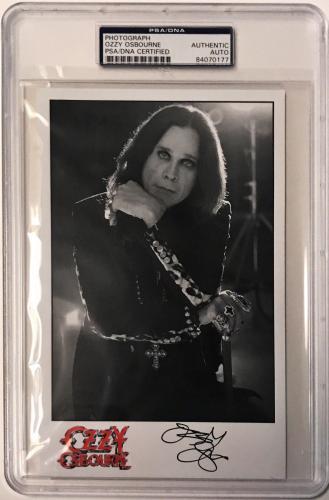 Ozzy Osbourne Black Sabbath Heavy Metal Signed 5x8 Photo PSA/DNA Slabbed
