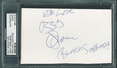 "Ozzy Osbourne ""black Sabbath"" Signed 3.5x5.5 Cut Autograph Psa Slabbed"