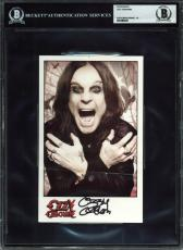 Ozzy Osbourne Black Sabbath Signed 5x8 Photo Auto Graded Gem Mint 10! BAS Slab