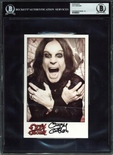 Ozzy Osbourne Black Sabbath Signed 5x8 Photo Auto Graded Gem Mint 10! BAS Slab