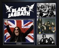 Ozzy Osbourne Black Sabbath Signed British Flag 11x14 Photo Framed Custom Displa