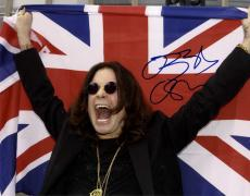 Ozzy Osbourne Black Sabbath Signed British Flag Screaming 11x14 Poster Photo