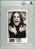 Ozzy Osbourne Black Sabbath Signed Promo 5x8 Photo Auto Graded 10! BAS Slabbed