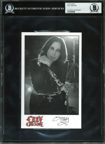 Ozzy Osbourne Black Sabbath Signed Promotional 5x8 Photo BAS Slabbed