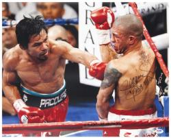 Manny Pacquiao Autographed 16'' x 20'' vs. Bloody Miguel Cotto Photograph with Pacman Inscription - Mounted Memories