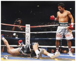Manny Pacquiao Autographed 16'' x 20'' Knowdown Photograph with Pacman Inscription - Mounted Memories