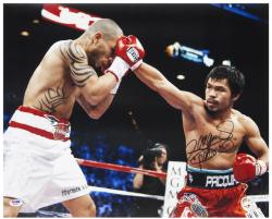 Manny Pacquiao Autographed 16'' x 20'' vs. Miguel Cotto Photograph with Pacman Inscription - Mounted Memories